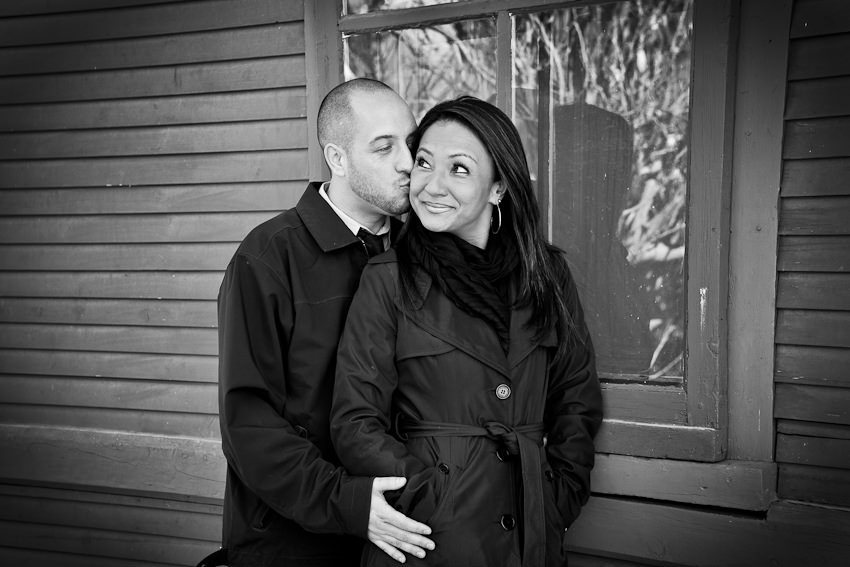 Kleinburg railway station engagement photography at front of building