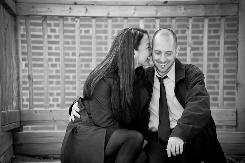 Kleinburg railway station engagement photography on wooden stairs