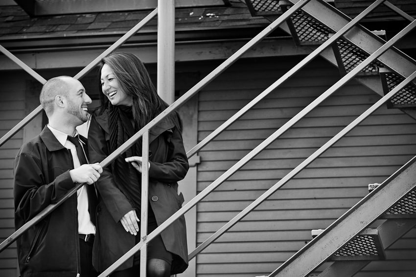 Kleinburg railway station engagement photography on stairs