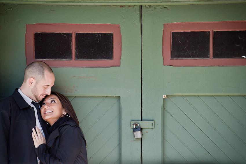 Kleinburg railway station engagement photography at doors