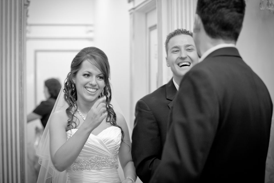 bride and groom in receiving line