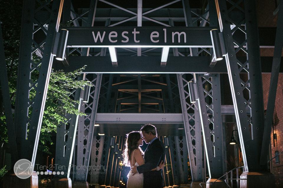 west elm, west elm bridge, liberty village wedding, liberty village at night, silhouette photography