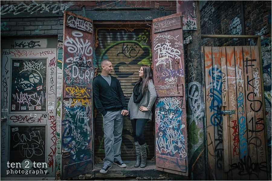Graffiti Alley Engagement Photos: Jess + Matt