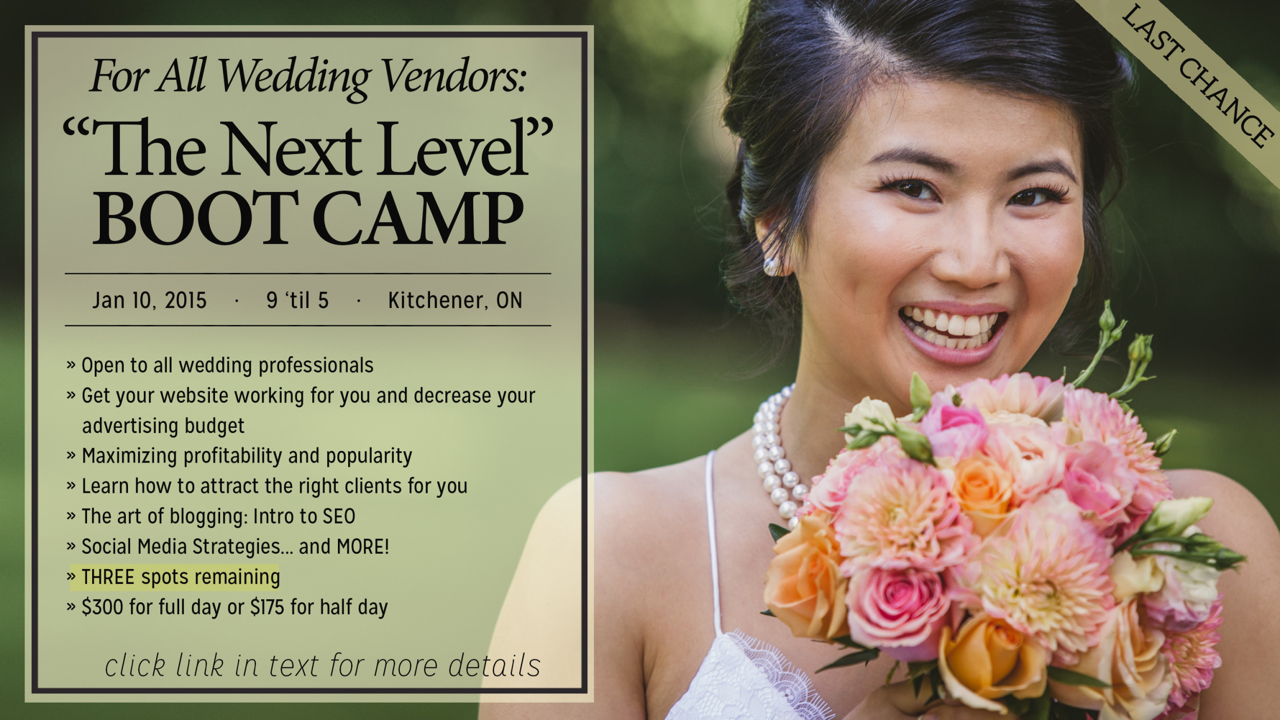 Kitchener Wedding Professional Workshop: Engagement Season Bootcamp