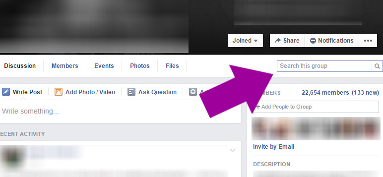facebook search bar, facebook groups, search for information in facebook group