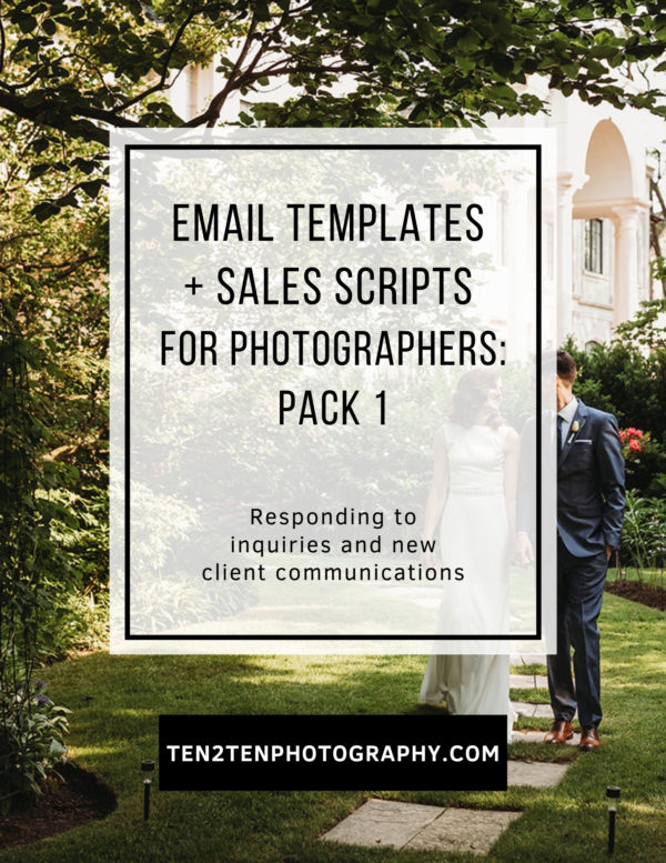 Email Templates for Photographers  Pack 1 Responding to Inquiries - Email Templates for Photographers - ALL