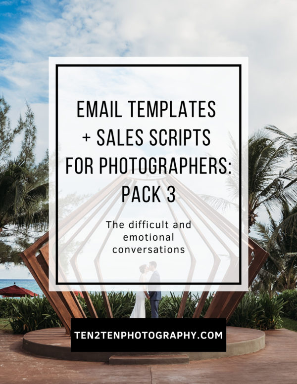 Email Templates  Pack 3 Difficult Emotional Conversations - Email Templates for Photographers - ALL