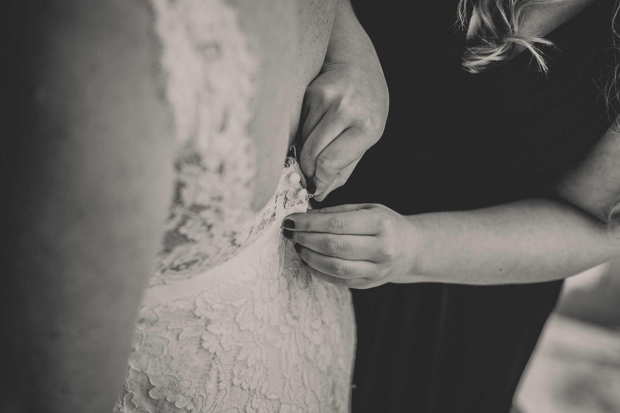bridal gown from behind