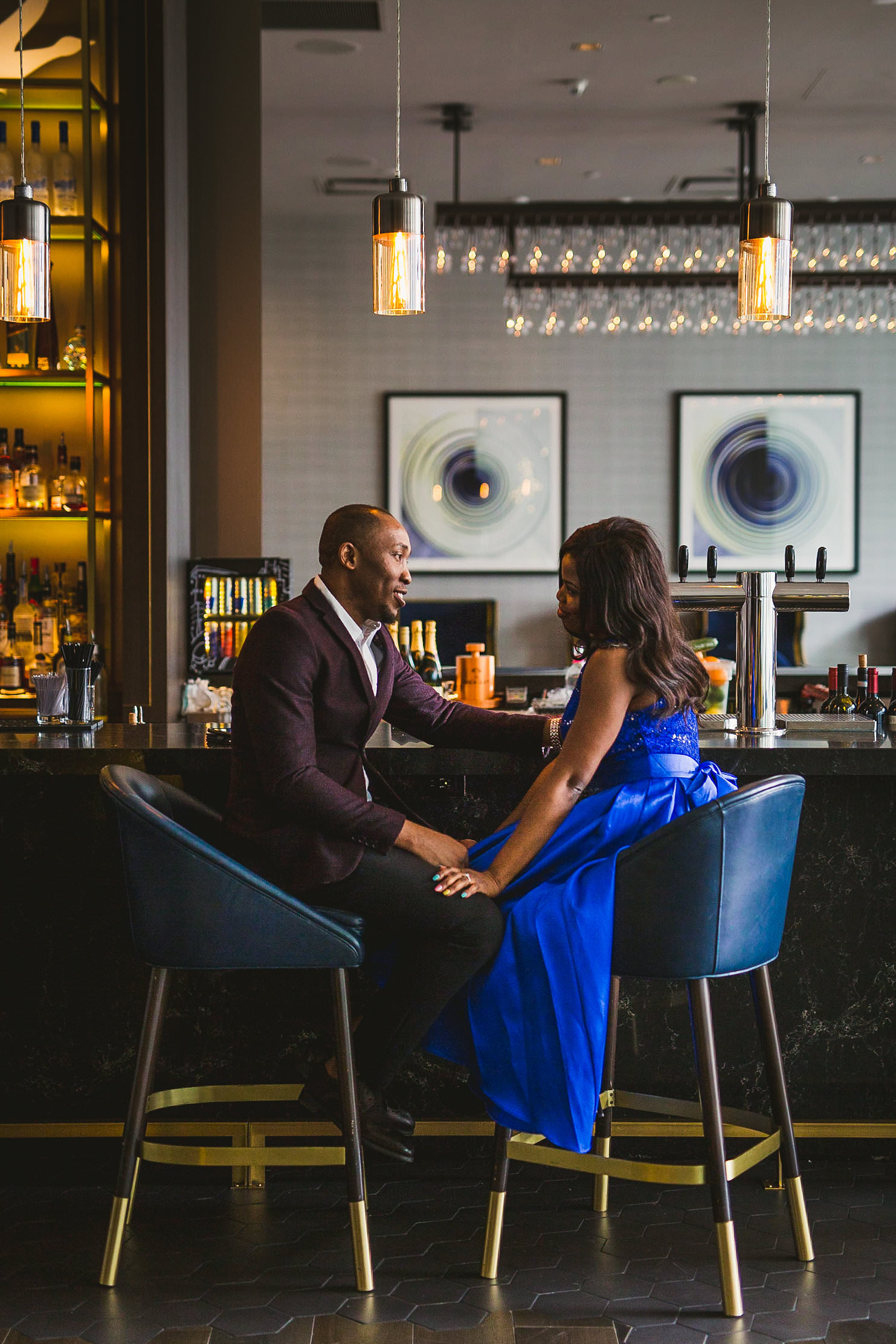 thompson hotel bar engagement shoot