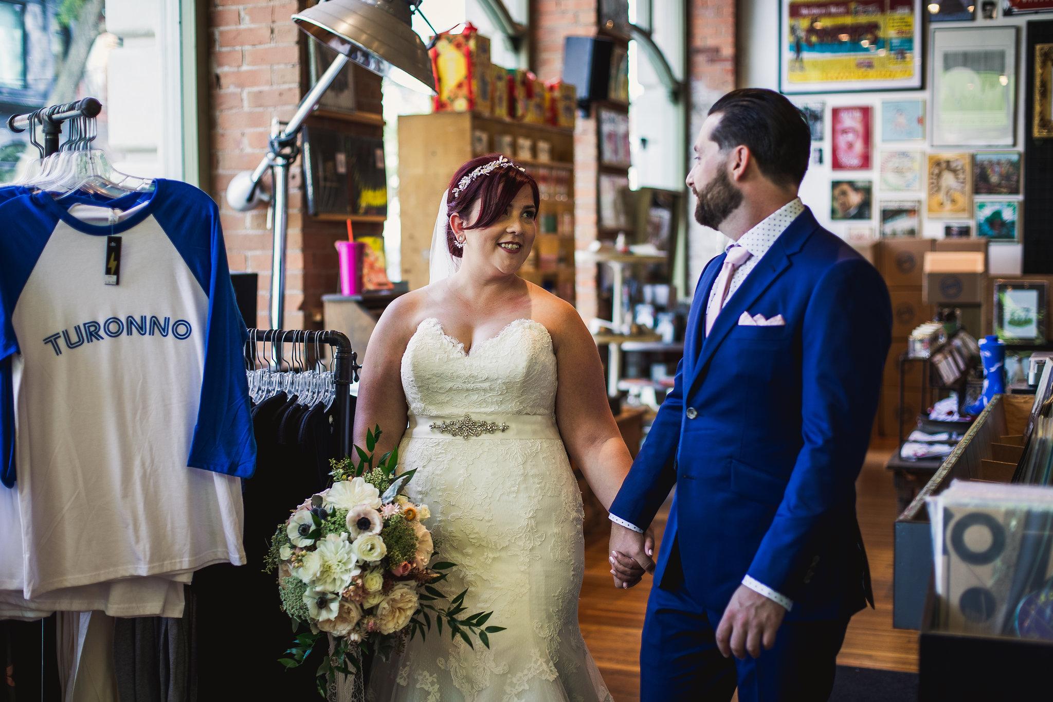 record store wedding photos
