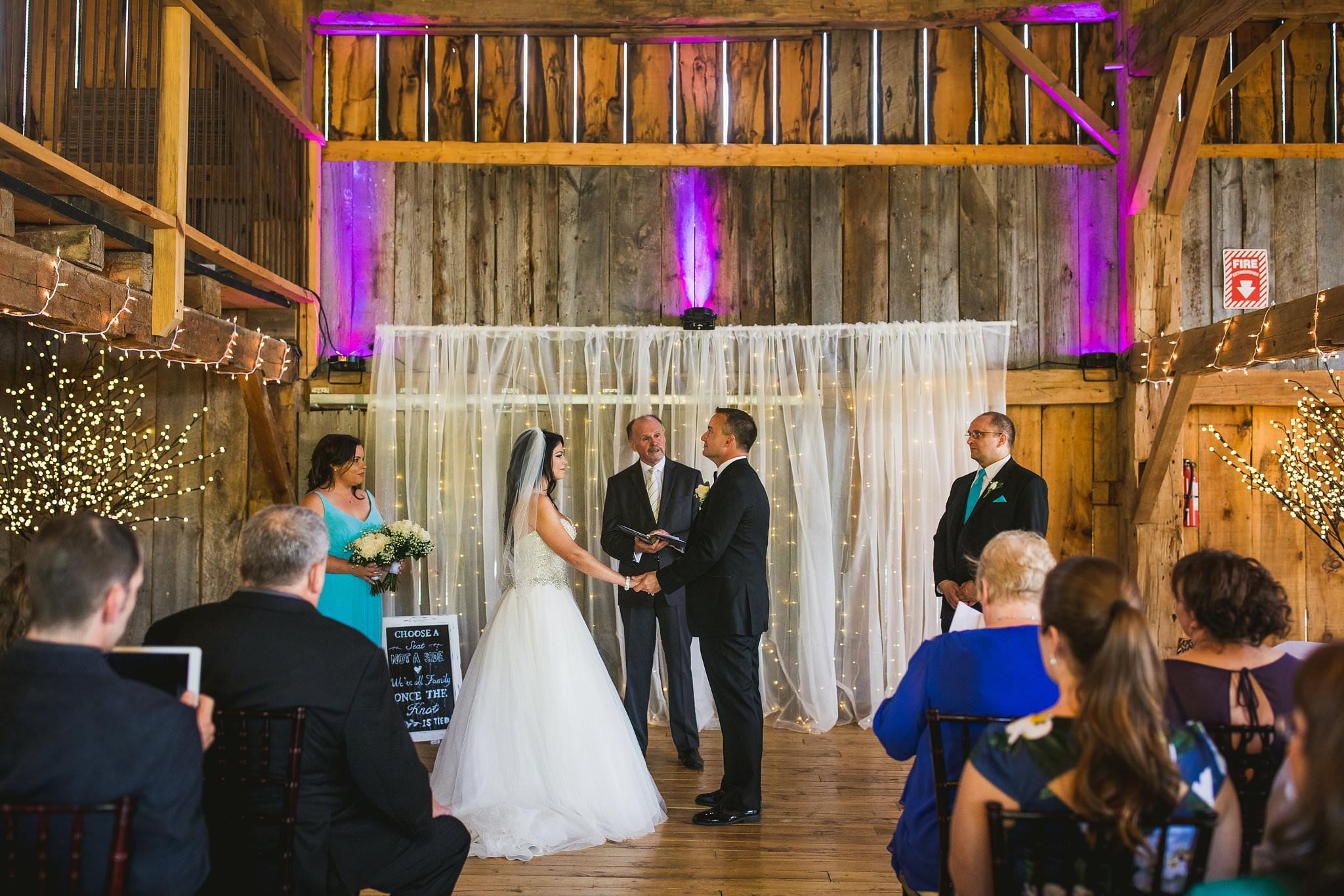 puslinch barn wedding ceremony