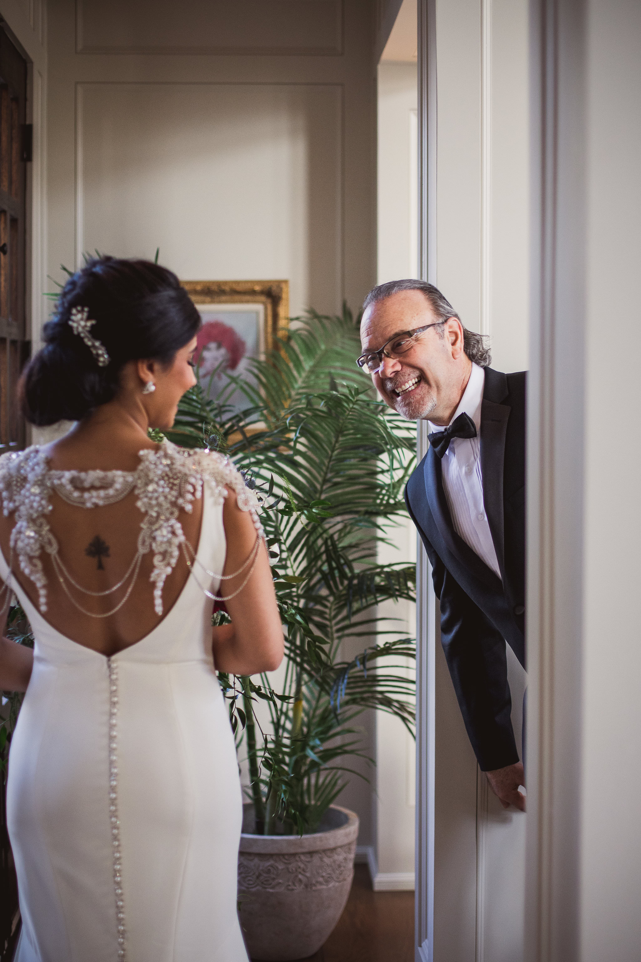 unique first look with bride and dad