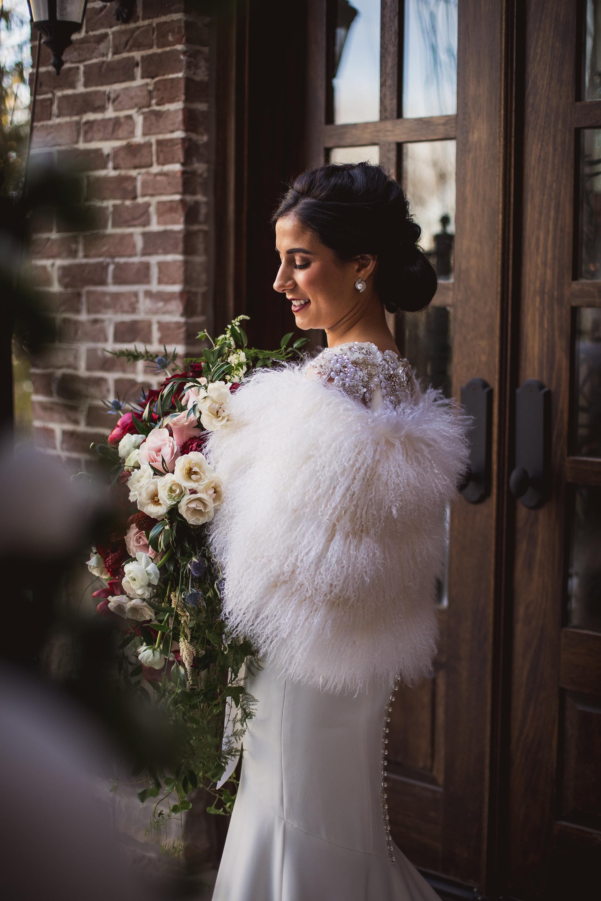 at home bridal portraits