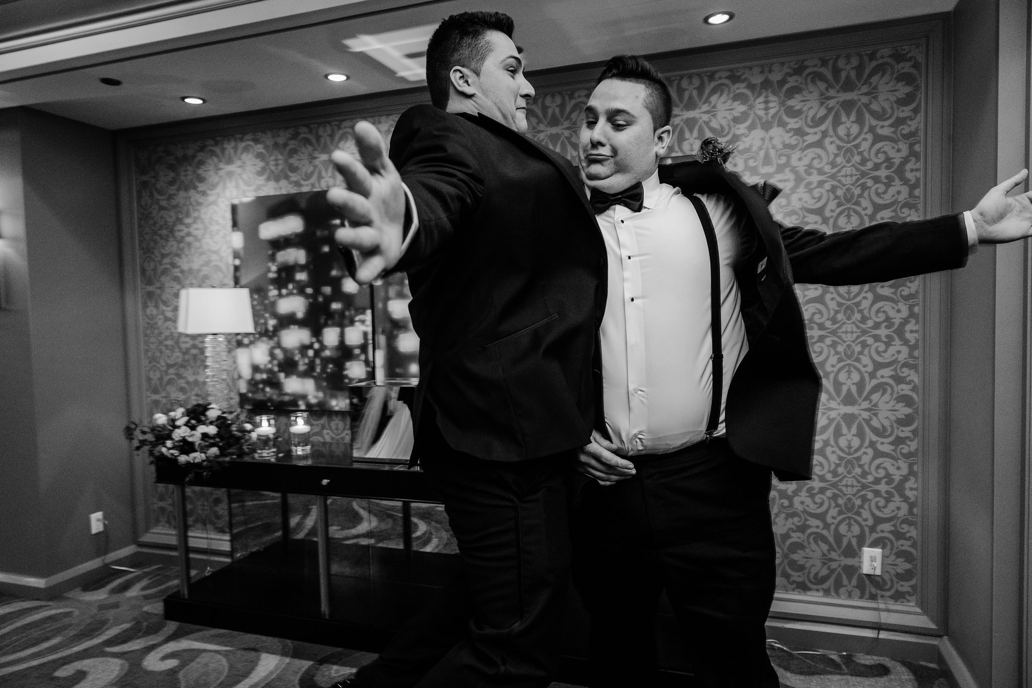 chest bump with groom