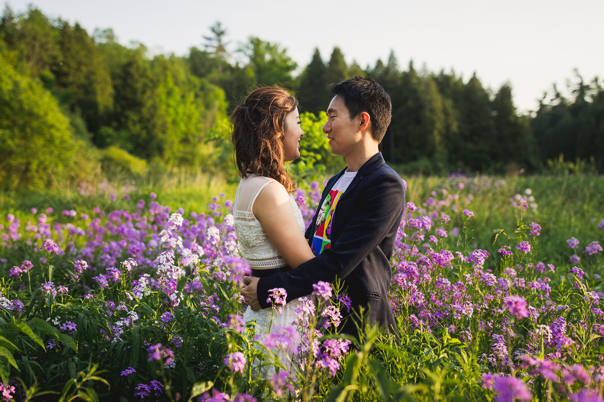 lavender farm engagement photos