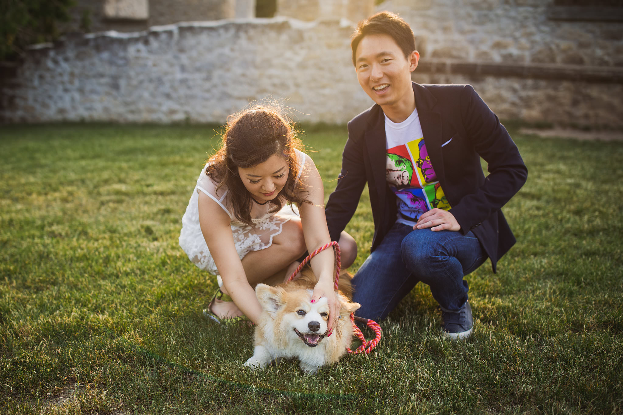 engagement photos with tibby the corgi