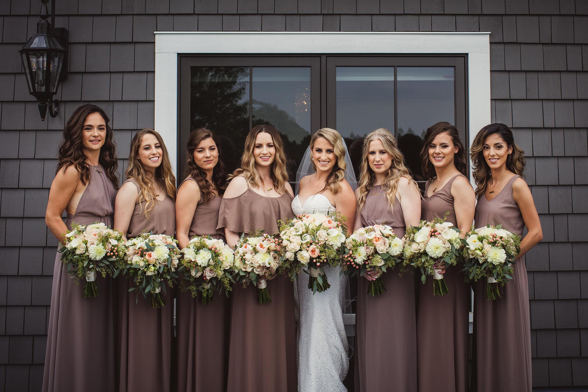 bride and bridesmaid photos at whistlebear on terrace