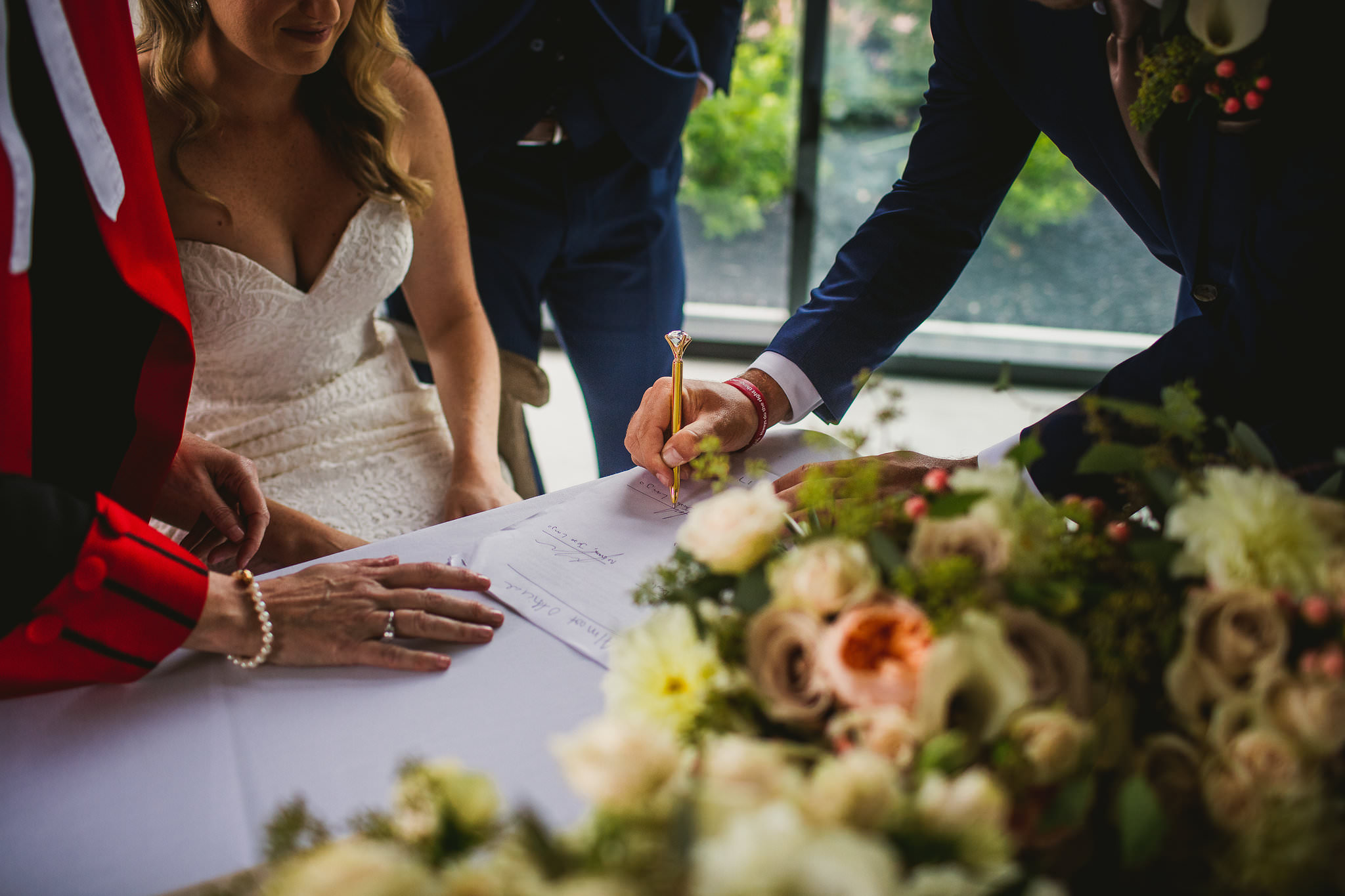 signing of the register in garden chapel at whistlebear