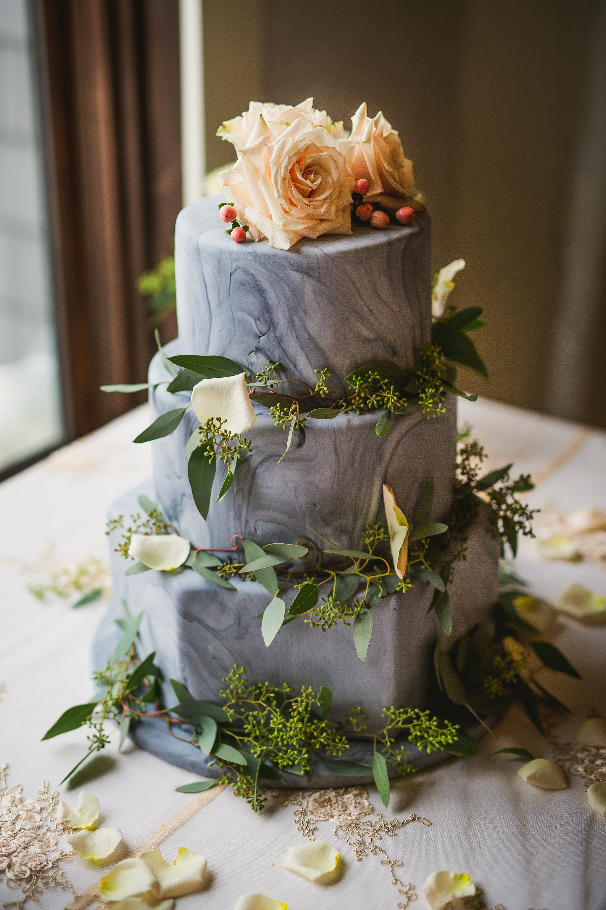 grey marble cake with peach flowers