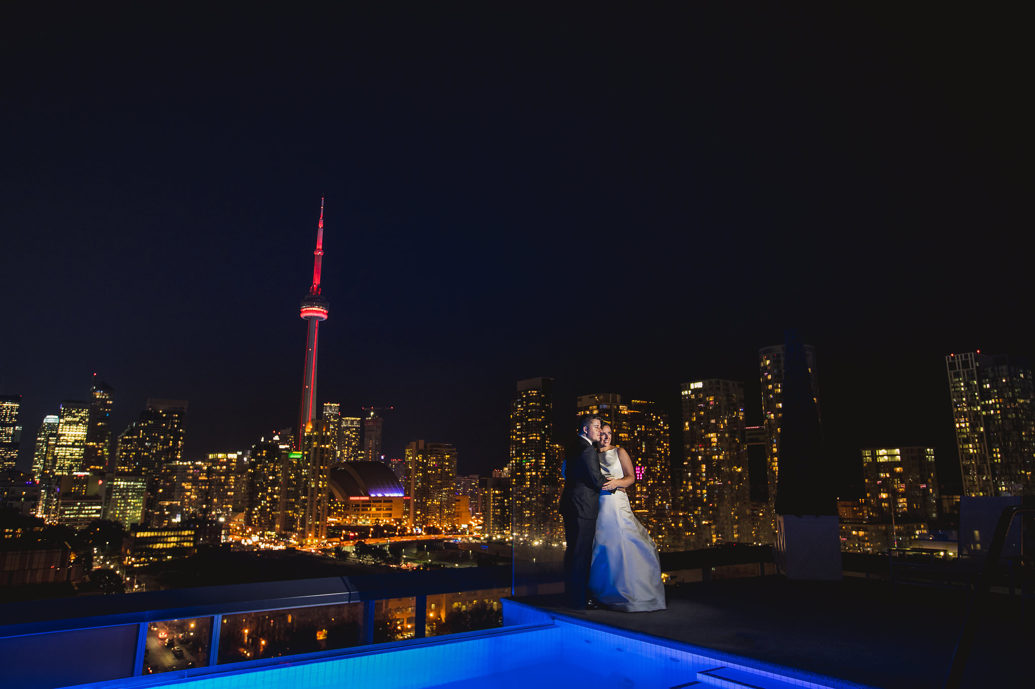 thompson hotel rooftop wedding photos