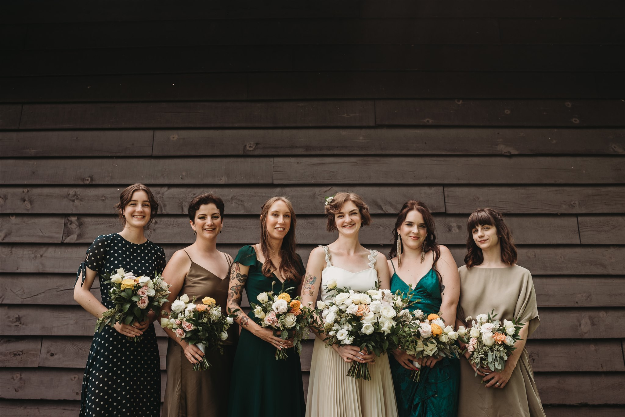 bride and bridal party photos at cabin in Fanshawe Conservation Area