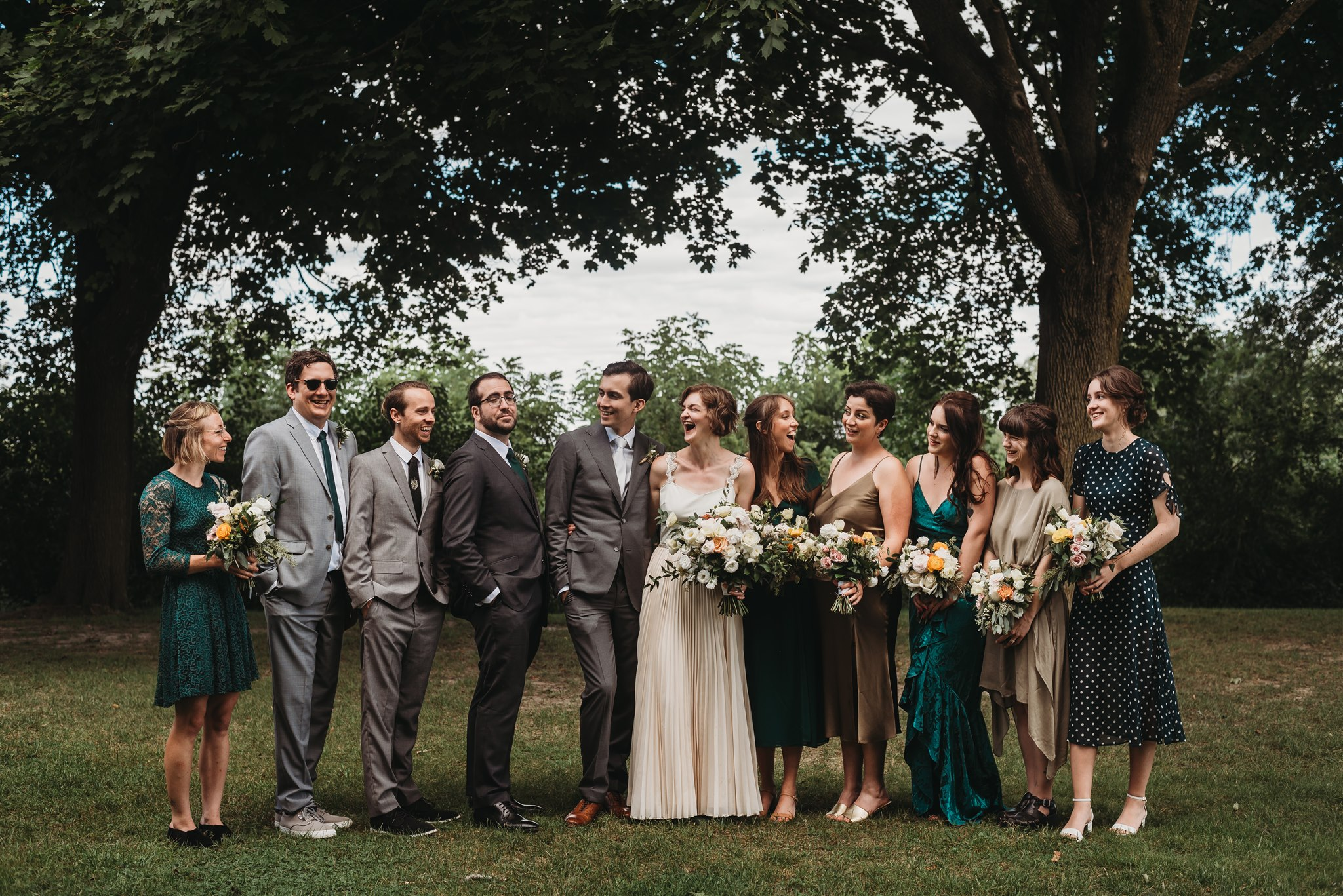 Fanshawe Conservation Area wedding photos with wedding party in relaxed pose