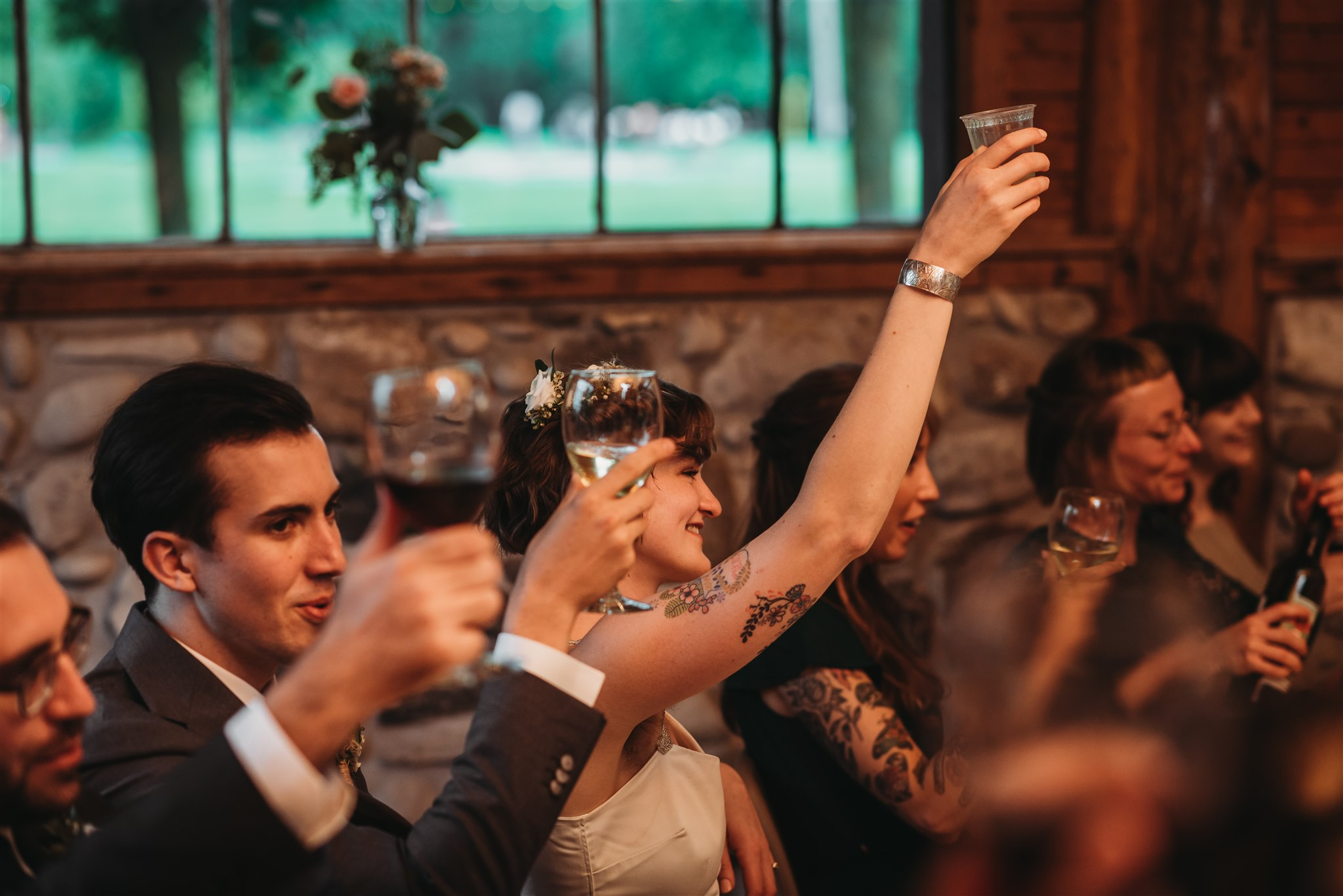 a toast from the bride and groom after speeches are done