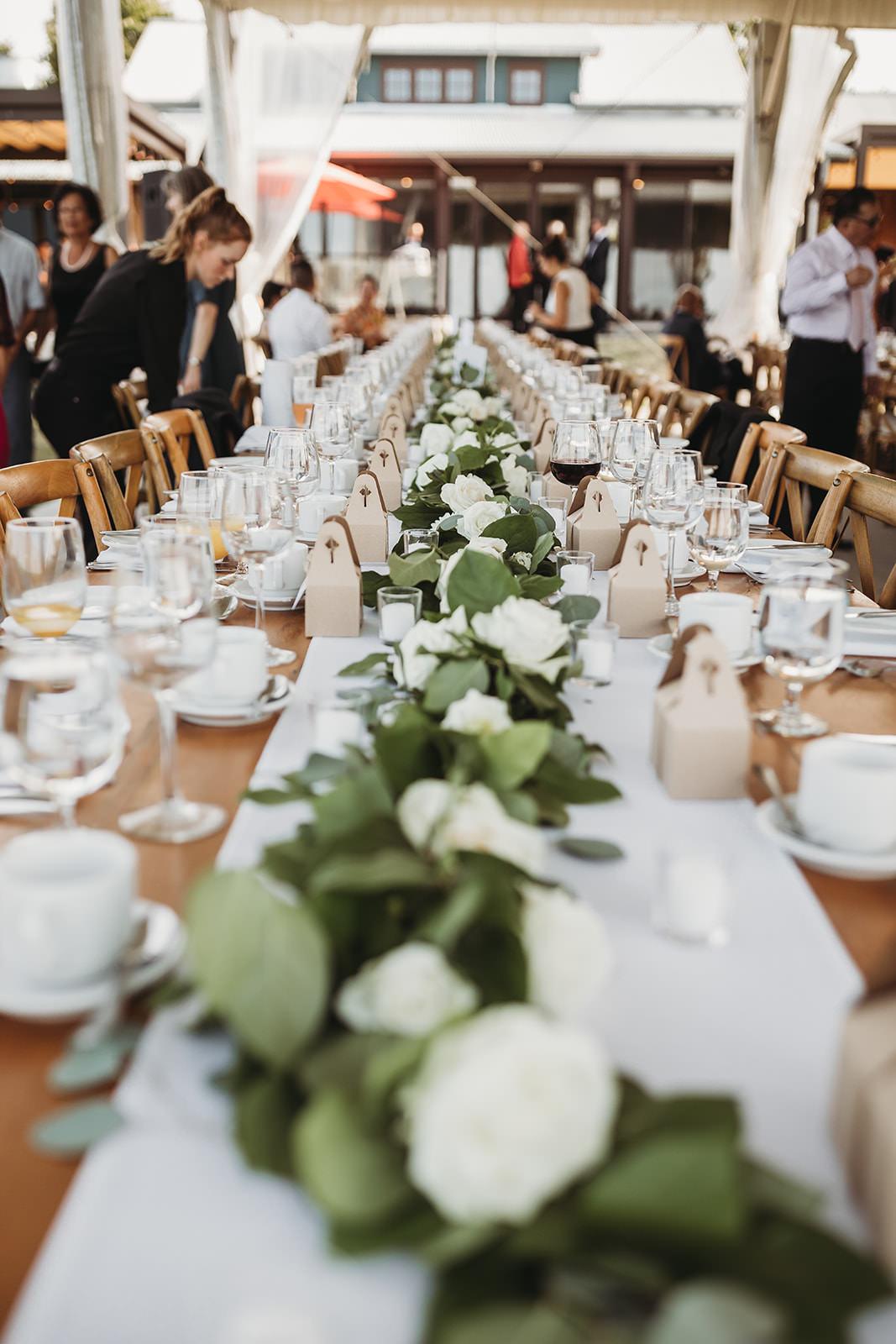 Vineyard Wedding Outdoor Reception Farm Tables Floral Chandelier Tent