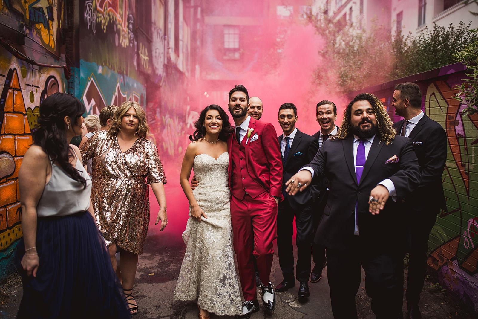 graffiti alley wedding photos